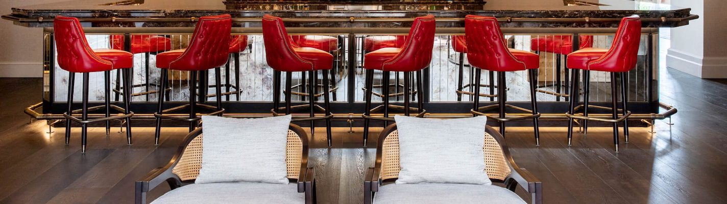 Bespoke leather buttoned bar stools